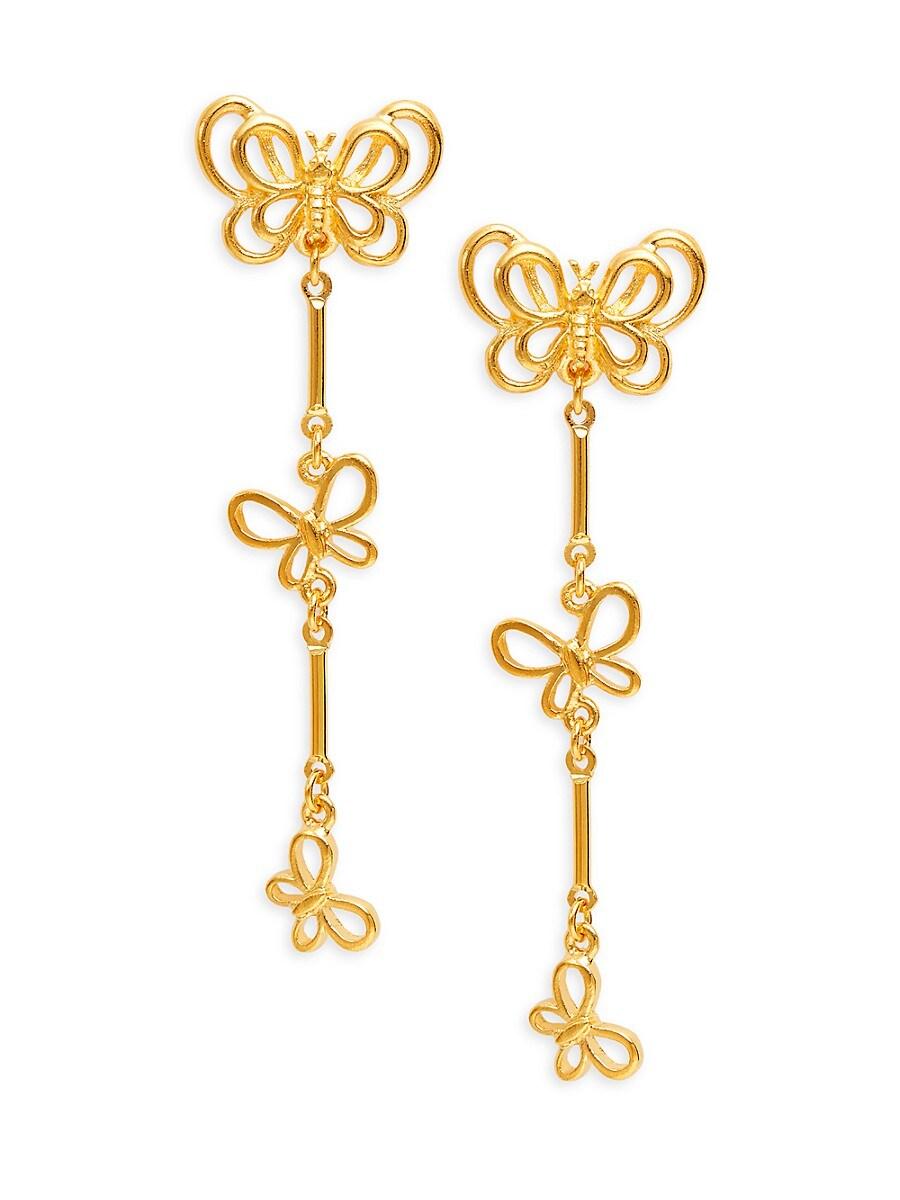 Women's 22K Gold Electroplated Butterfly Drop Earrings