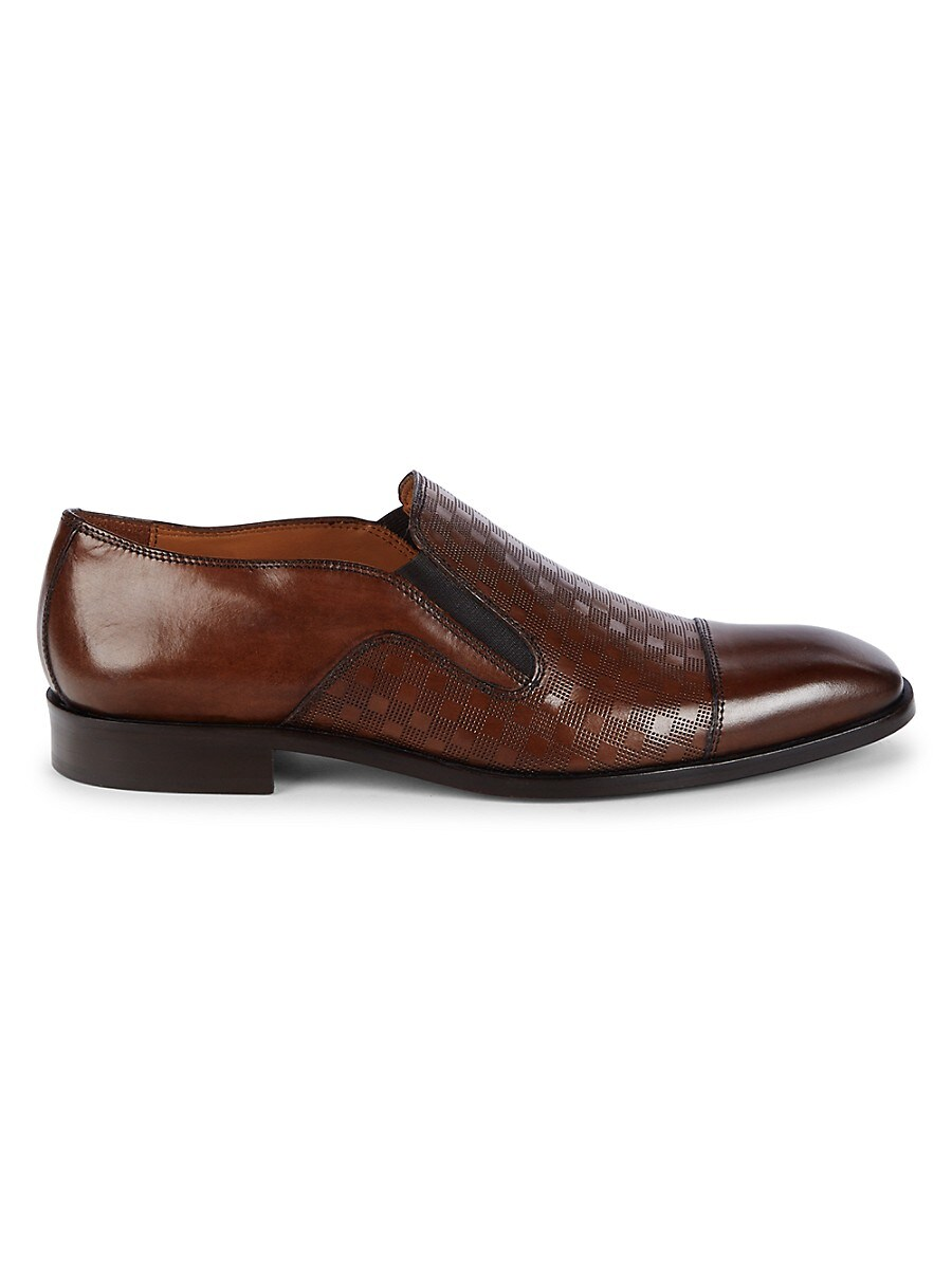 Men's Checker Cap-Toe Leather Loafers