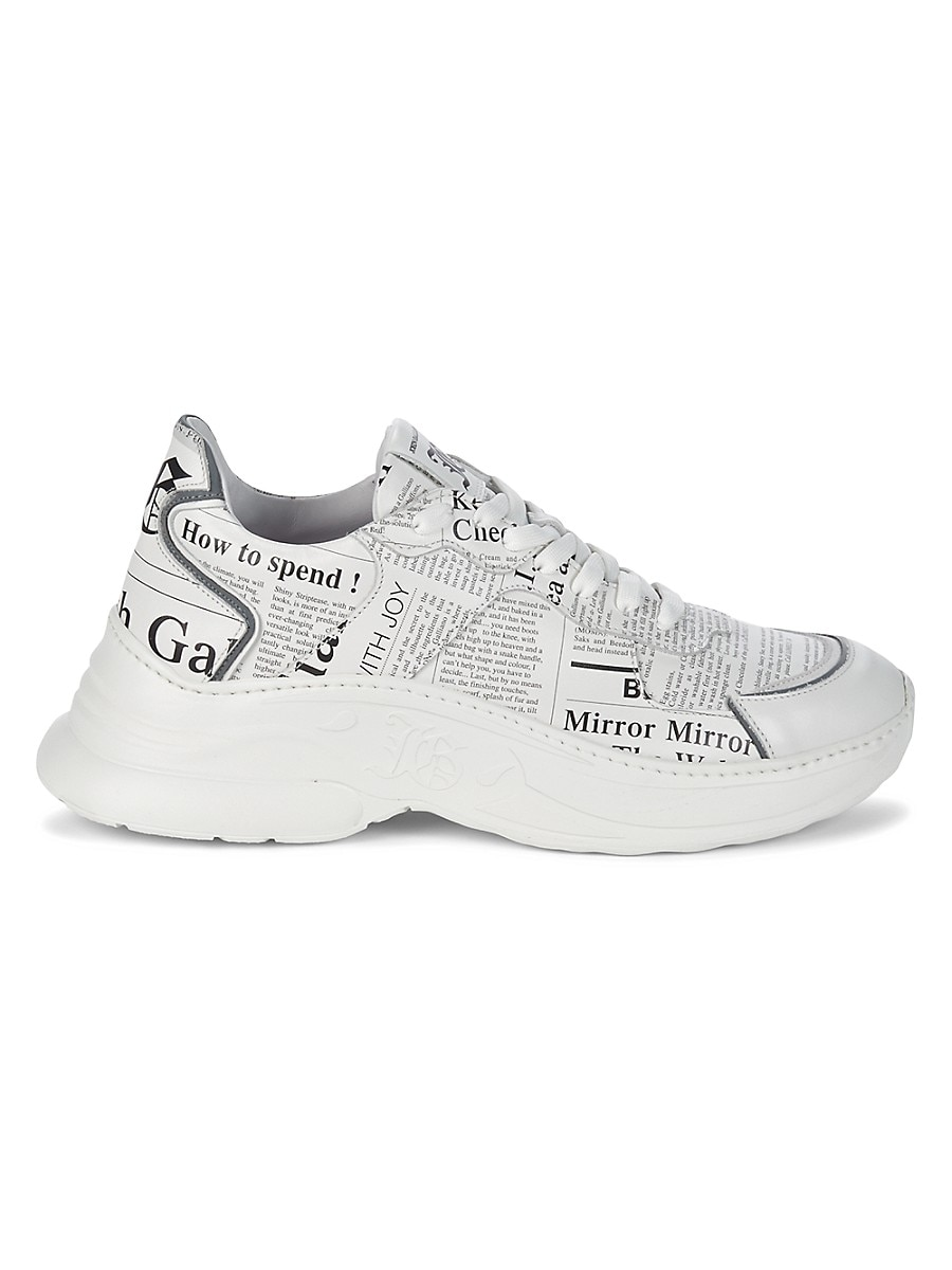 Men's Chunky Newspaper-Print Leather Sneakers