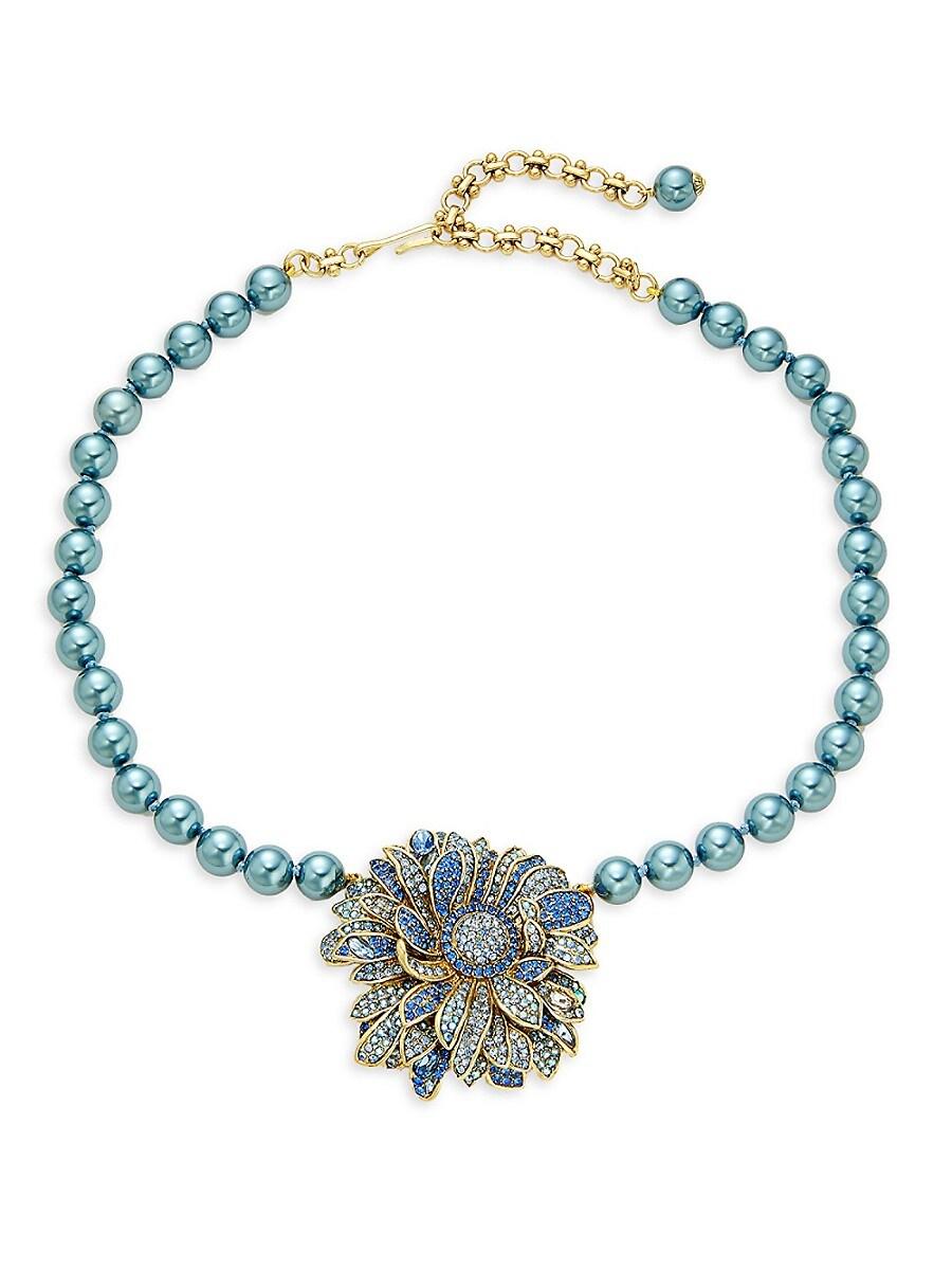 Women's Goldtone & Crystal Flower Necklace