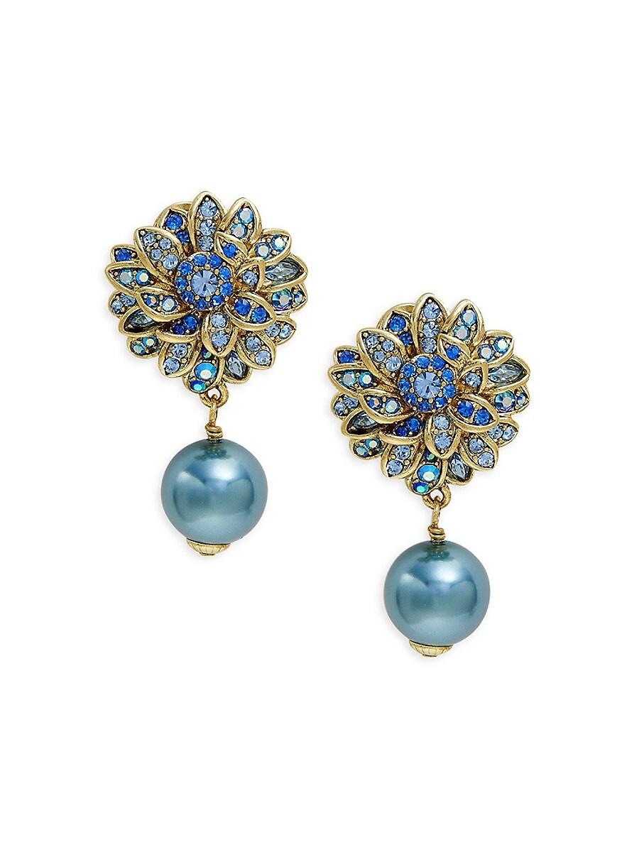 Women's Crystal & Glass Pearl Flower Drop Earrings