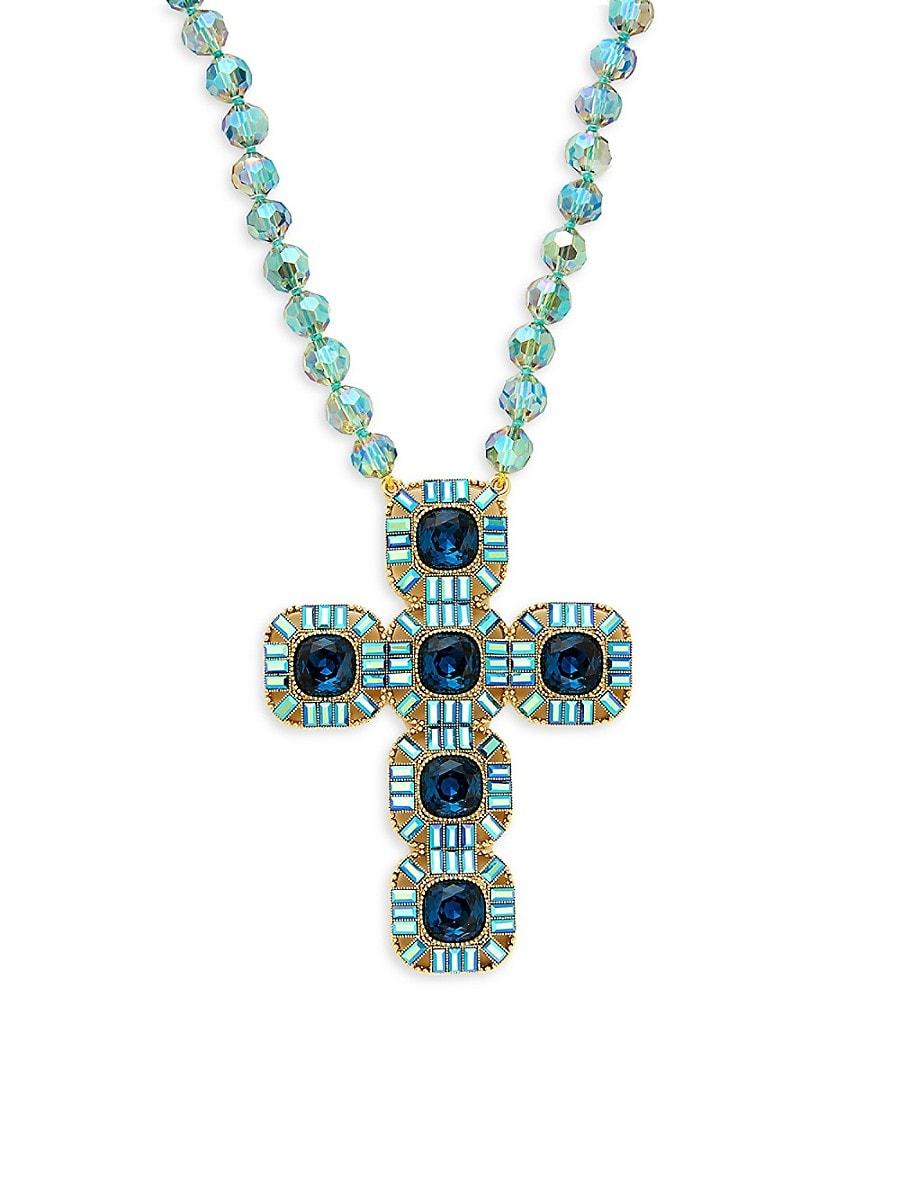 Women's Goldtone & Crystal Cross Necklace