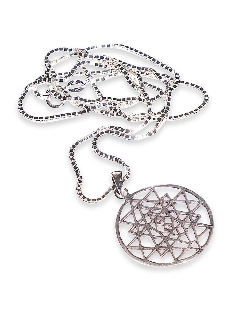 Dell Arte Sterling Silver Sri Yantra Mantra Pendant-On-Chain