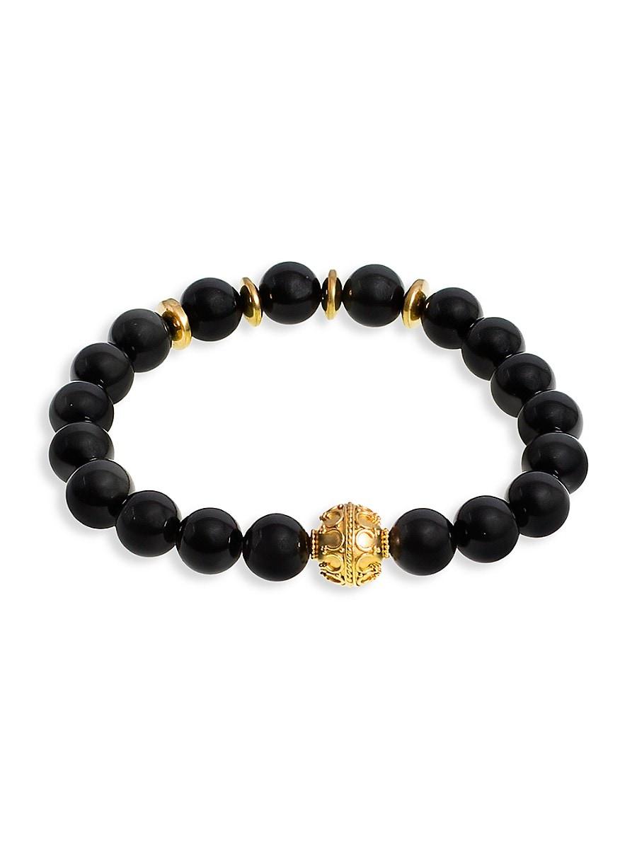 Men's 24K Gold Vermeil & Obsidian Beaded Bracelet