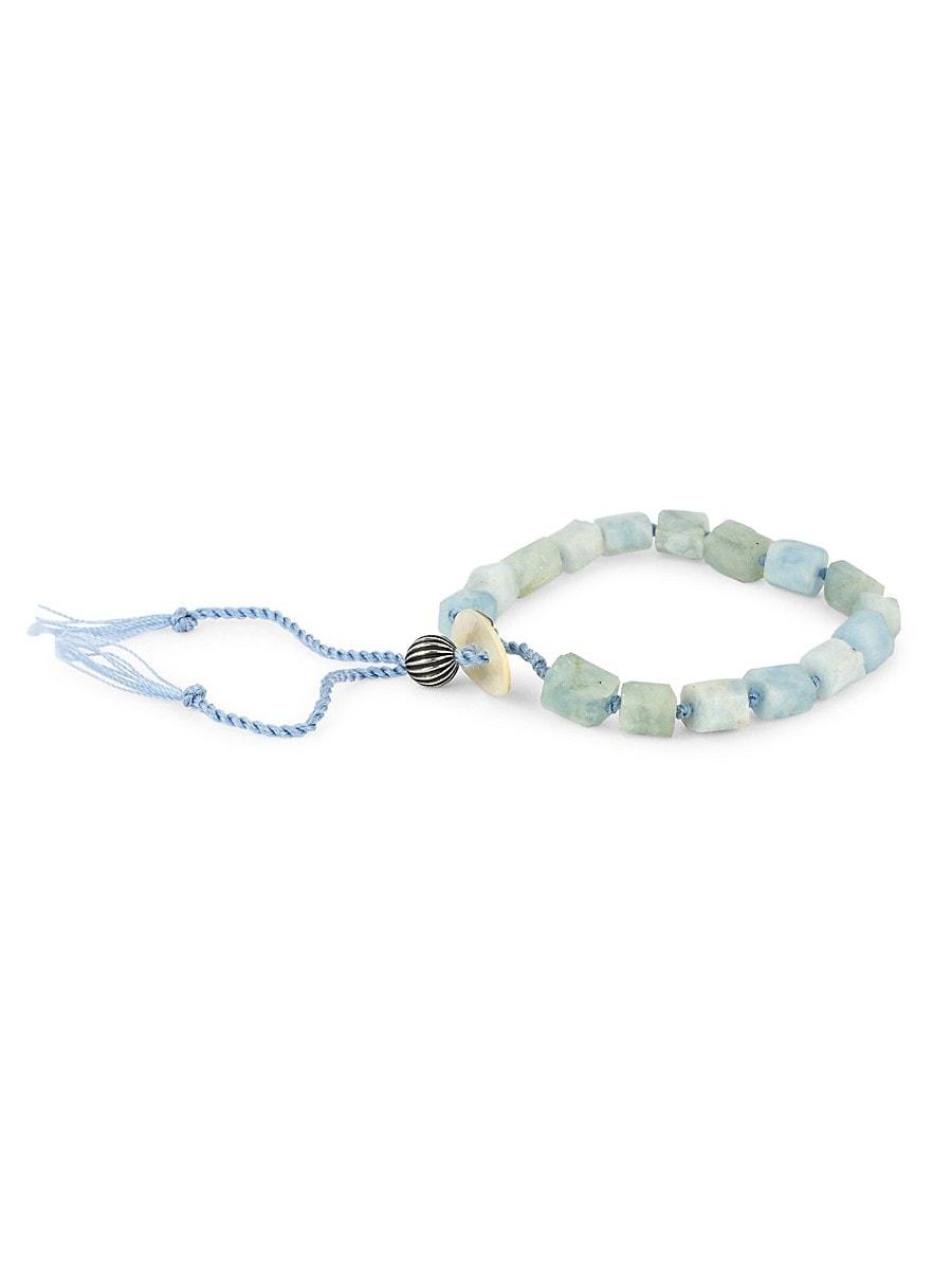 Men's Dell Arte Sterling Silver & Aquamarine Bead Bracelet