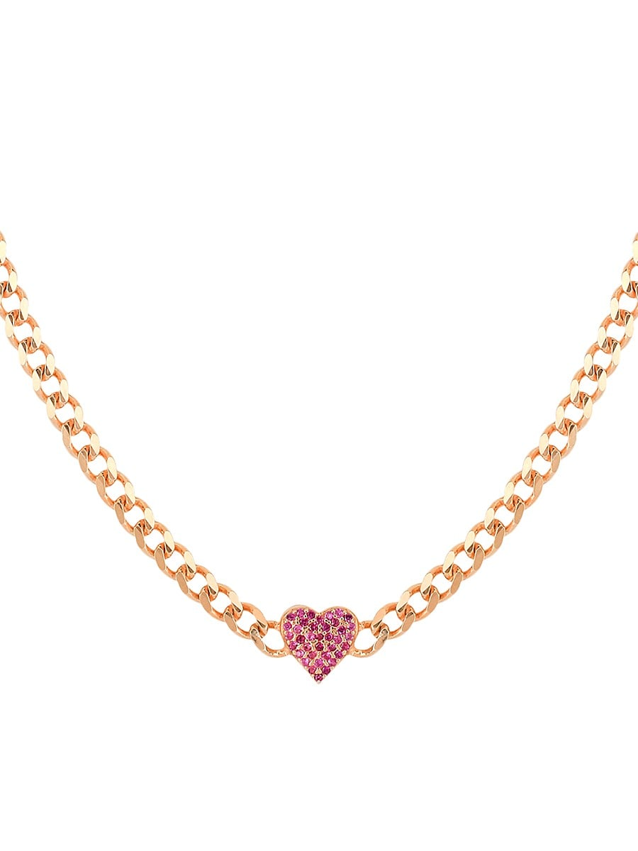 Women's I Heart You 14K Gold Vermeil & Ruby Cubic Zirconia Heart Choker Necklace