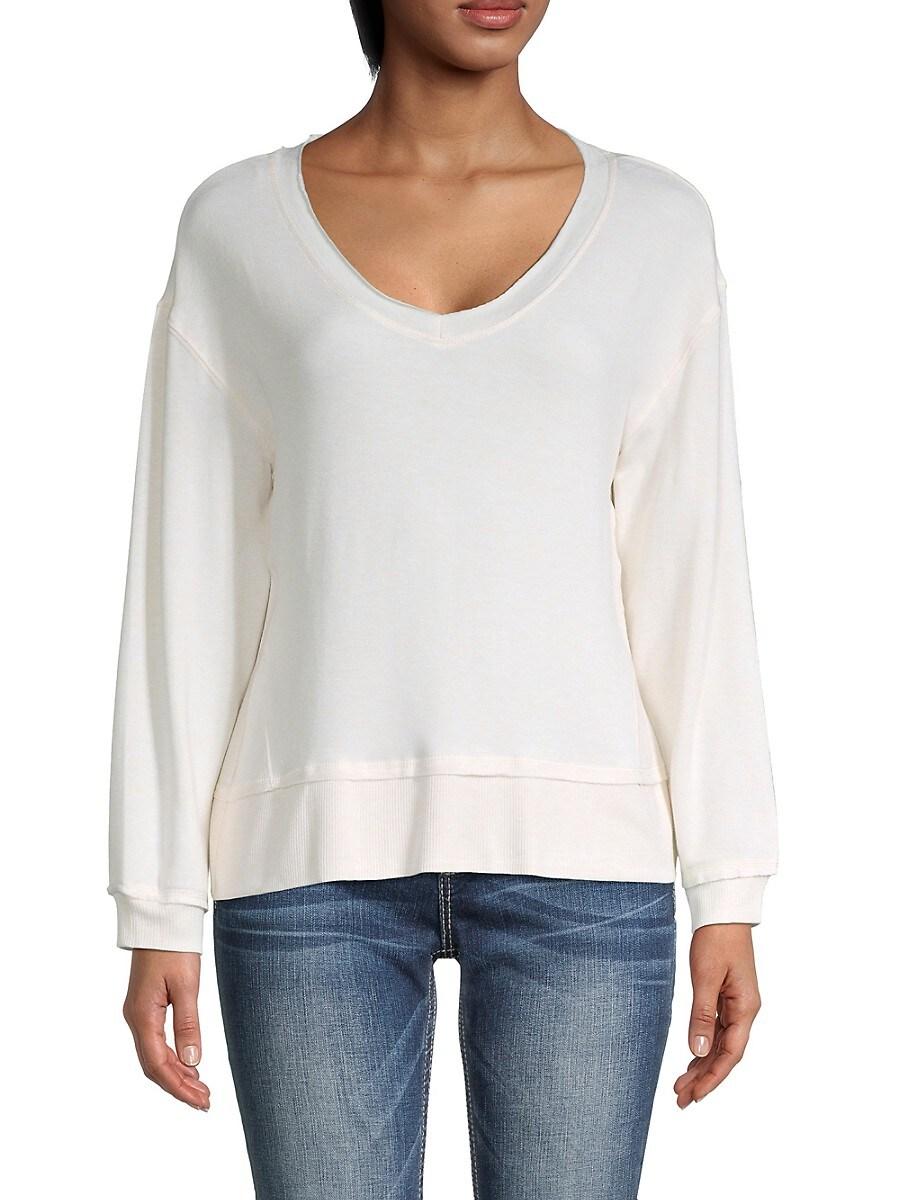 Women's V-Neck Dropped-Shoulder Sweater