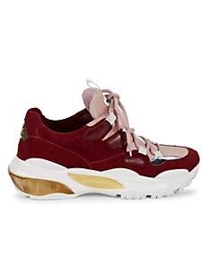 발렌티노 Valentino Suede & Leather Sneakers,WATER ROSE