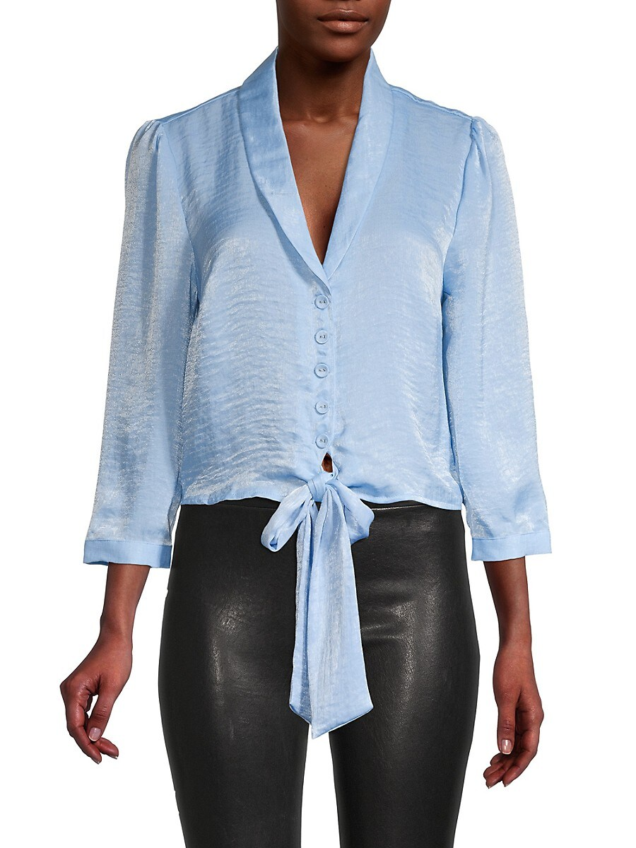 Women's Knot-Front Puffed-Sleeve Top