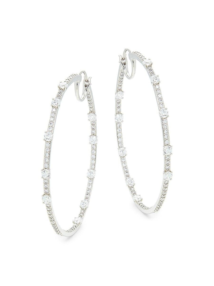 Women's Rhodium-Plated & Crystal Hoop Earrings
