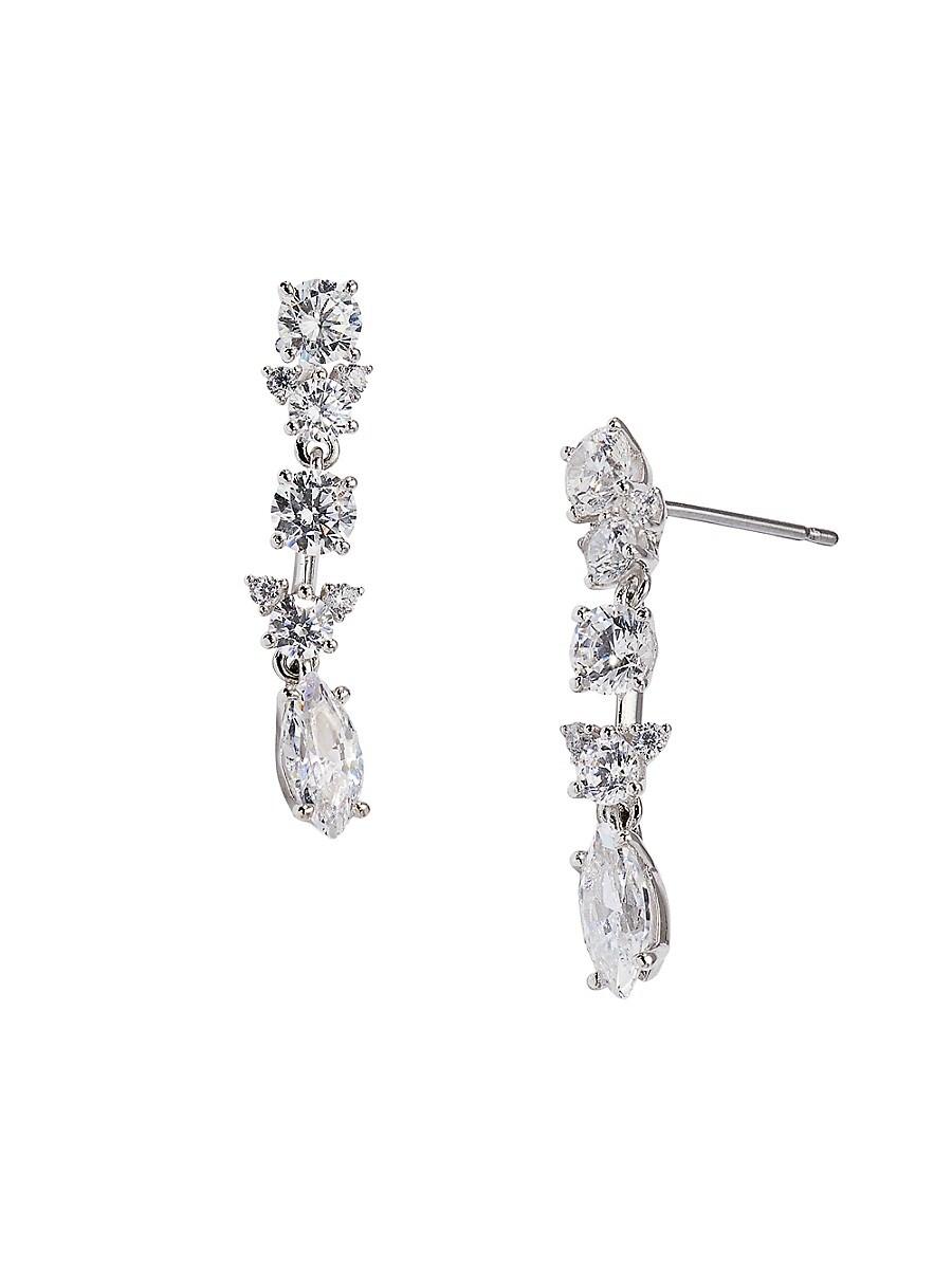 Women's Rhodium-Plated & Crystal Drop Earrings