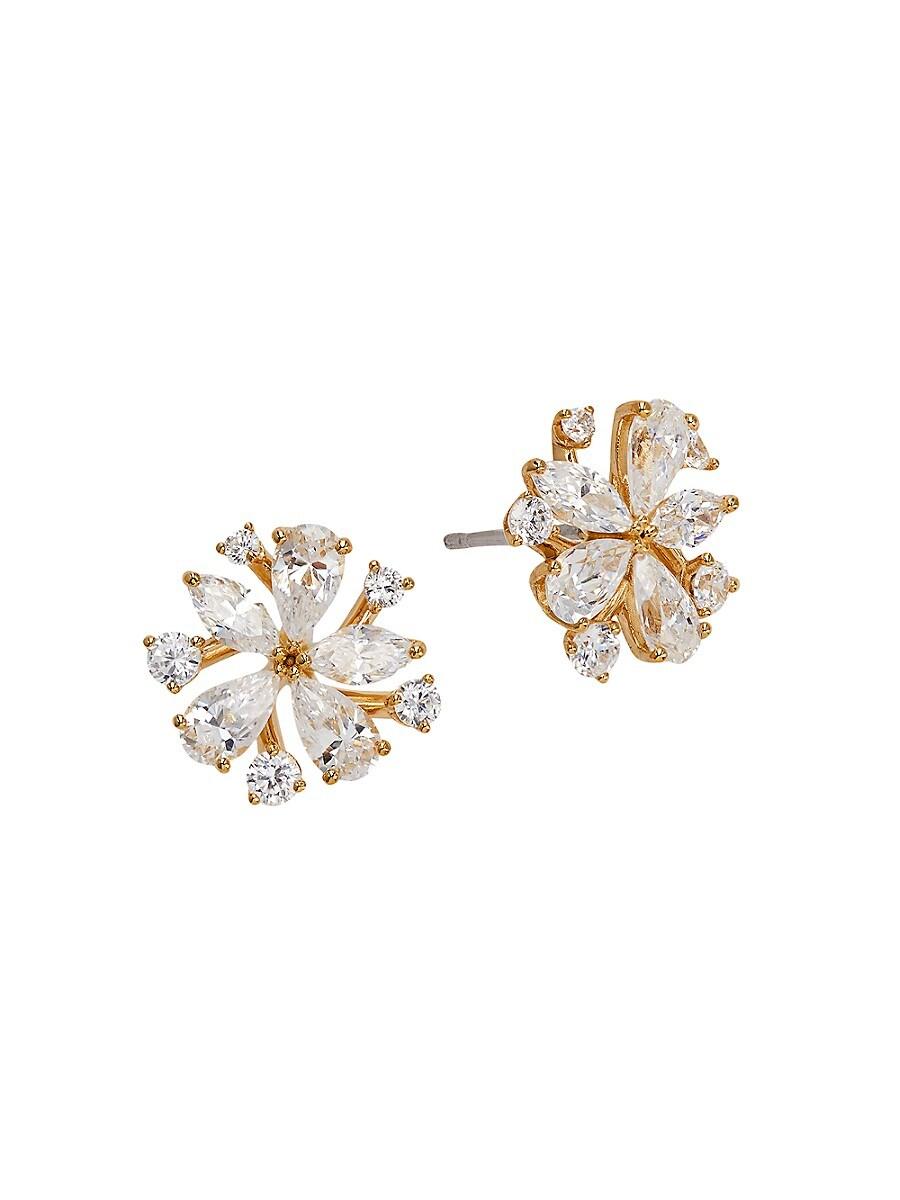 Women's 18K Goldplated & Crystal Flower Stud Earrings
