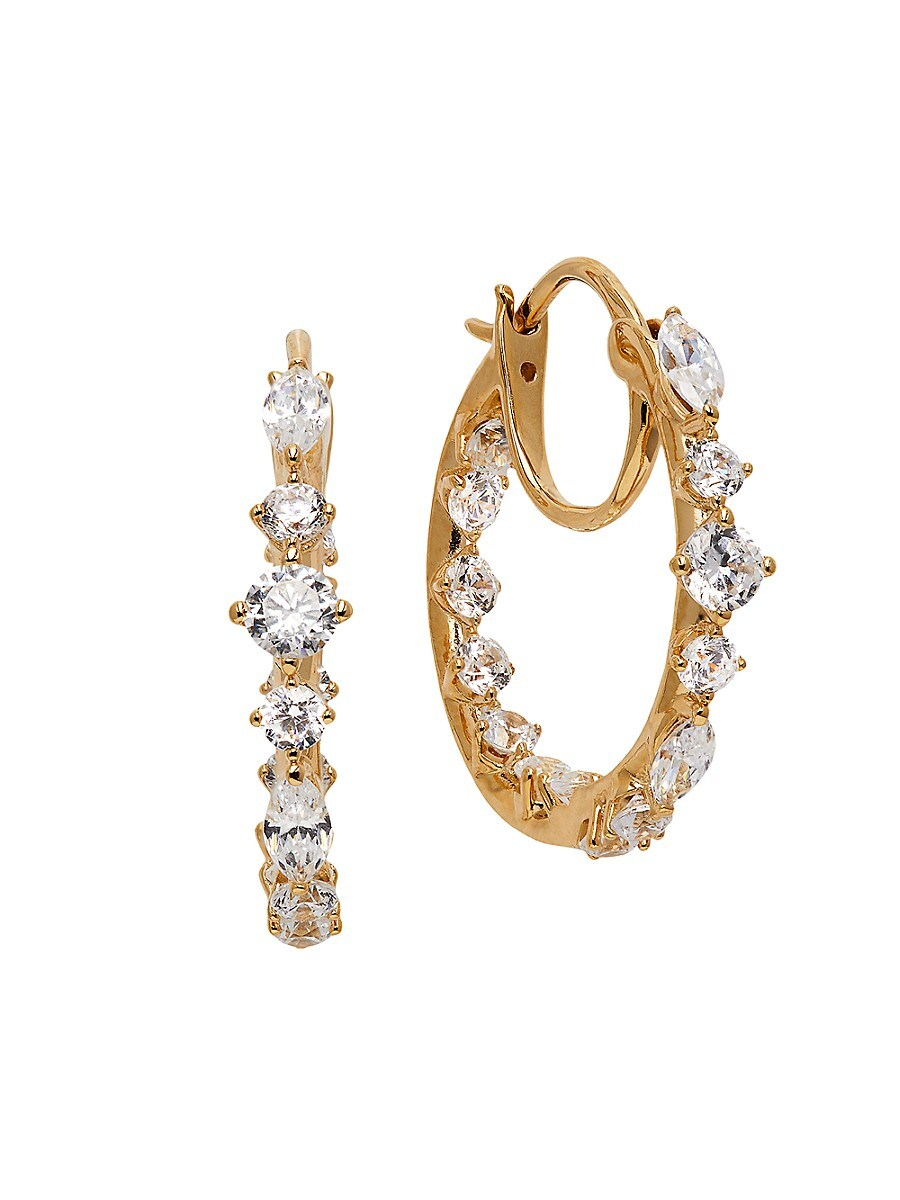 Women's Leilani 18K Goldplated & Cubic Zirconia Hoop Earrings