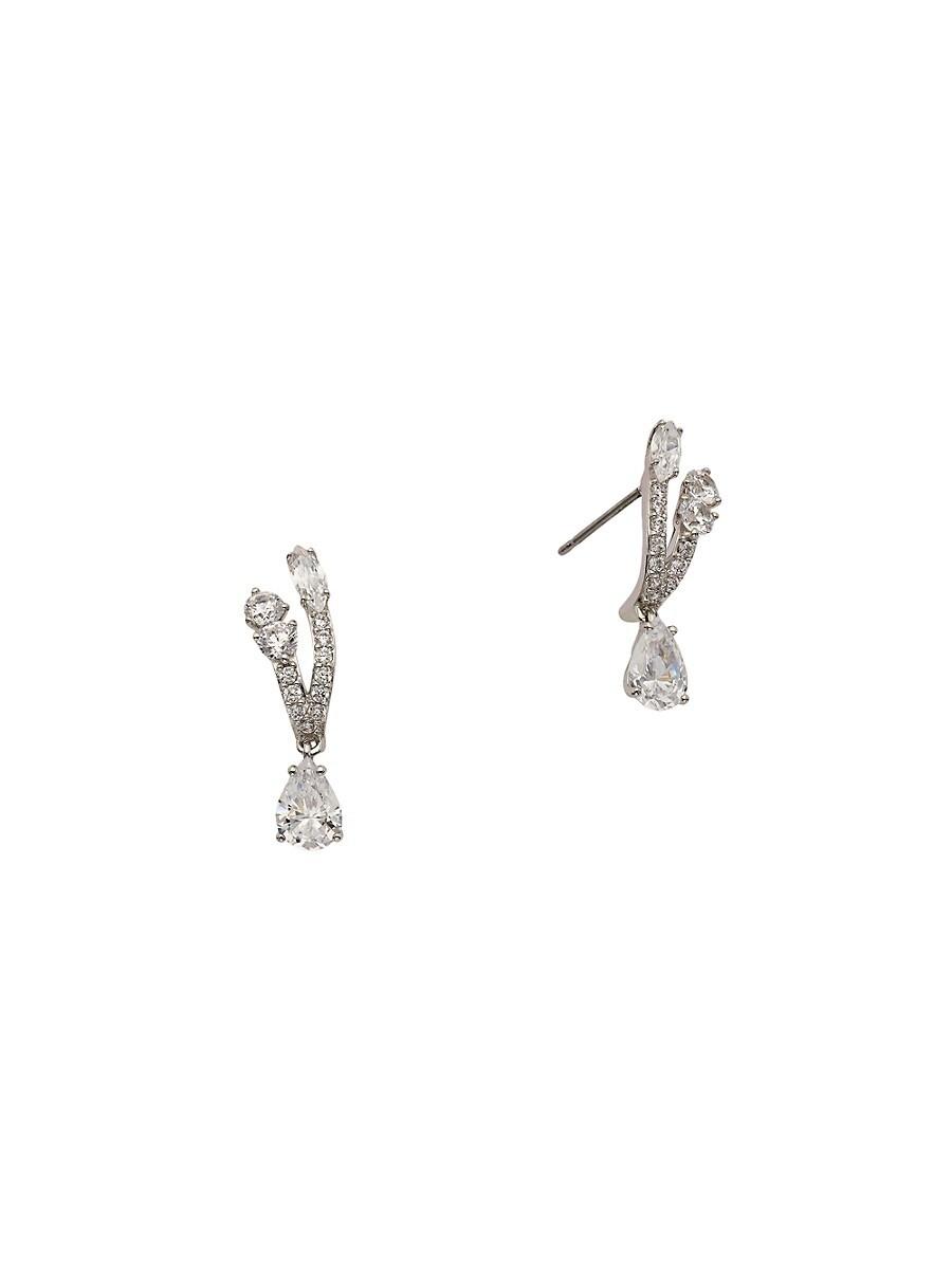 Women's Rhodium-Plated & Crystal Stud Earrings