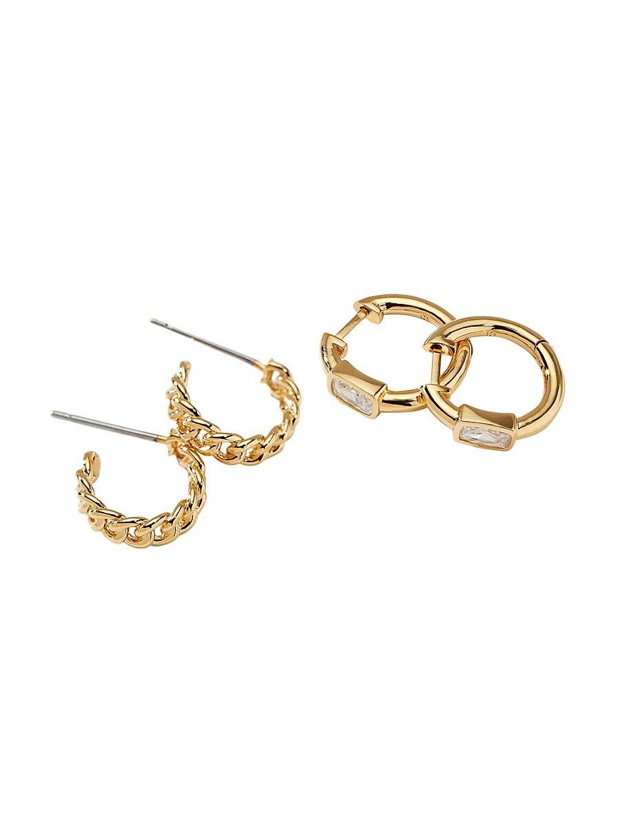 Women's 2-Pack 18K Goldplated & Crystal Mini Hoop Earrings