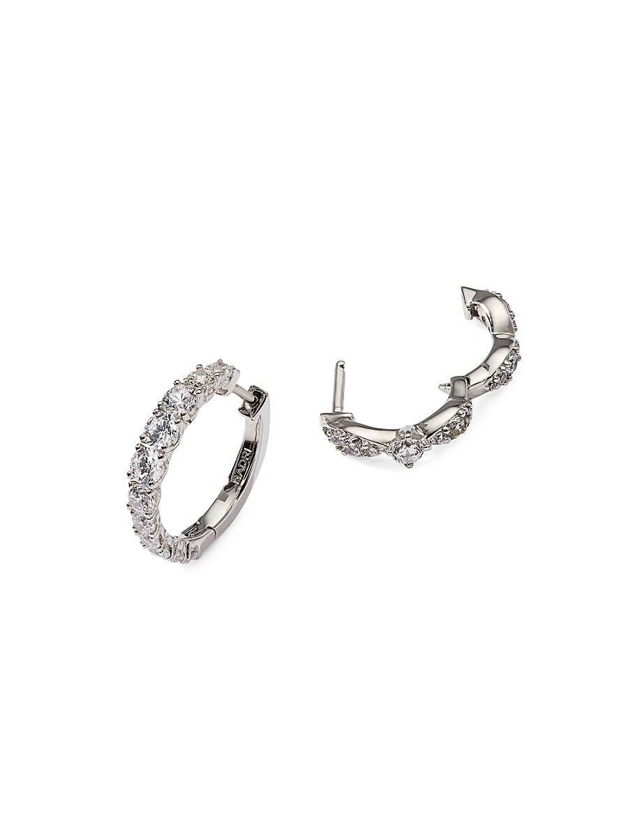 Women's White Rhodium-Plated & Crystal Huggie Earrings