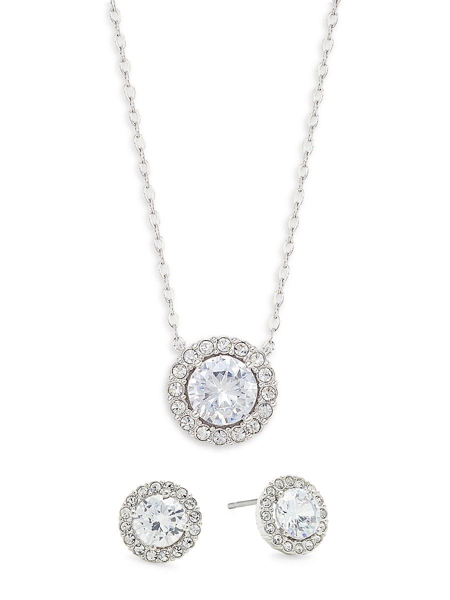 Women's Rhodium-Plated & Cubic Zirconia Halo Pendant Necklace & Earring Set