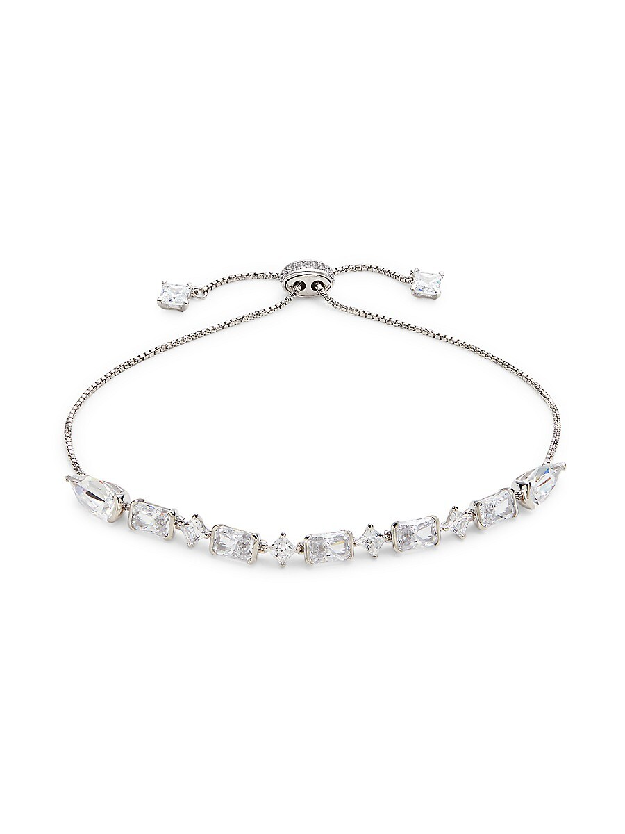 Women's Rhodium-Plated Silvertone & Crystal Bolo Bracelet