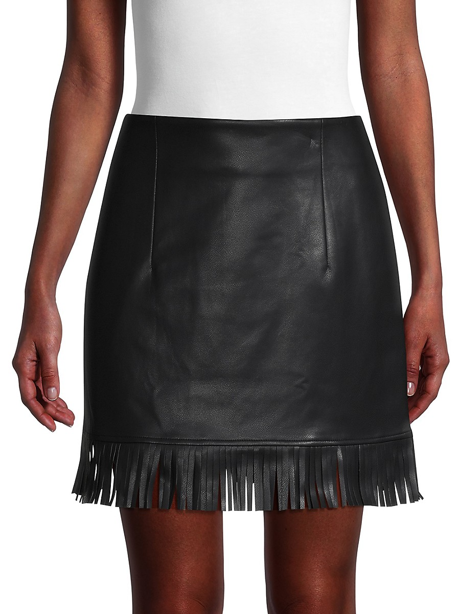 Women's Fringed Faux Leather Skirt