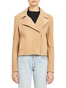 띠어리 Theory Slim Leather Moto Jacket,TAUPE