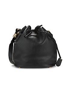 알렉산더 맥퀸 Alexander McQueen Padlock Skull Leather Bucket Bag,BLACK