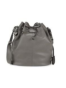 알렉산더 맥퀸 Alexander McQueen Padlock Skull Leather Bucket Bag,GRAPHITE