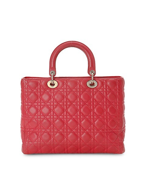 Large Lady Dior Leather Top Handle Bag