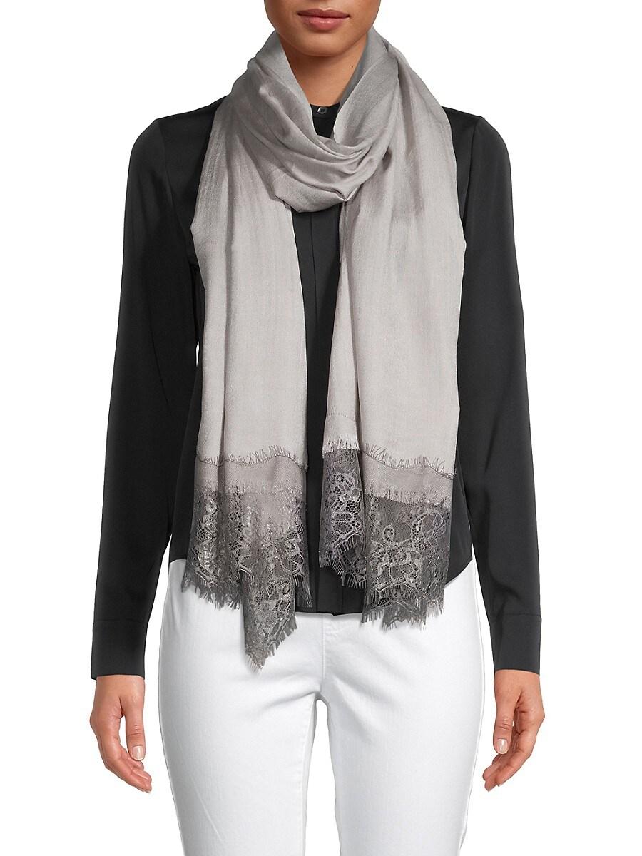 Women's Wool & Silk Lace-Trim Scarf