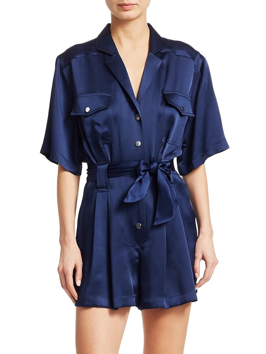 Carolina Ritzler Women's Short-Sleeve Tie-Waist Satin Romper - Sapphire - Size 42 (6)