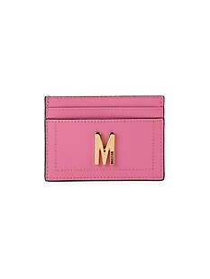 모스키노 Moschino Logo Leather Card Case,FUCHSIA