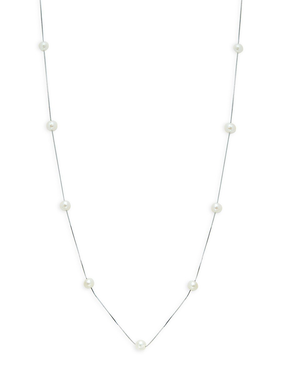 Women's 14K White Gold & 7-8MM Freshwater Pearl Station Necklace