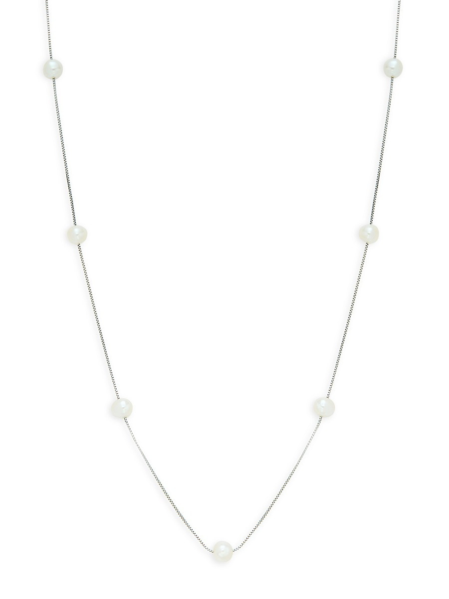 Women's 14K White Gold & 6-7MM Freshwater Pearl Station Necklace