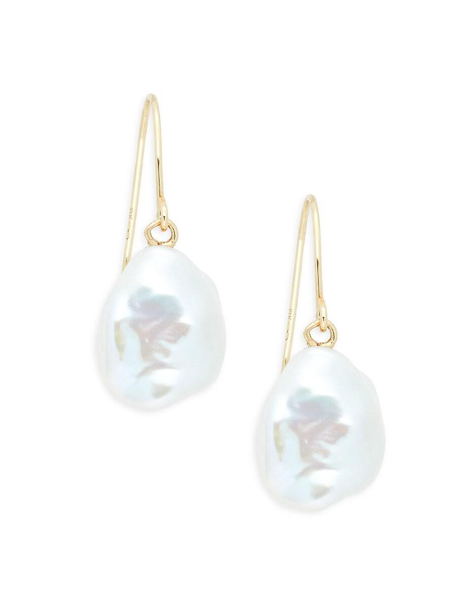 Women's 14K Yellow Gold & 8-9MM Baroque Freshwater Pearl Drop Earrings