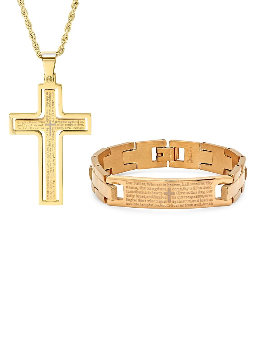 Men's 2-Piece 18K Goldplated Stainless Steel Bracelet & Pendant Necklace Set