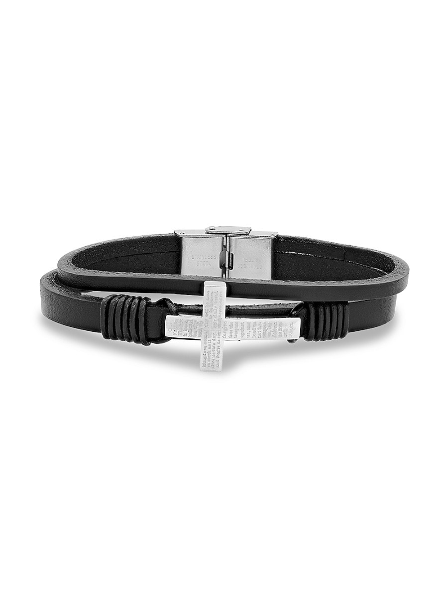 Men's Stainless Steel & Leather Our Father Prayer Cross Bracelet