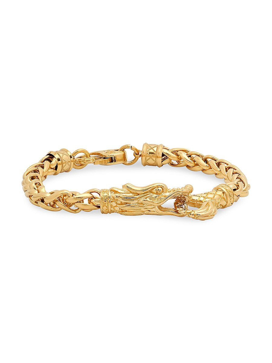 Men's 18K Goldplated Stainless Steel Dragon Link Bracelet