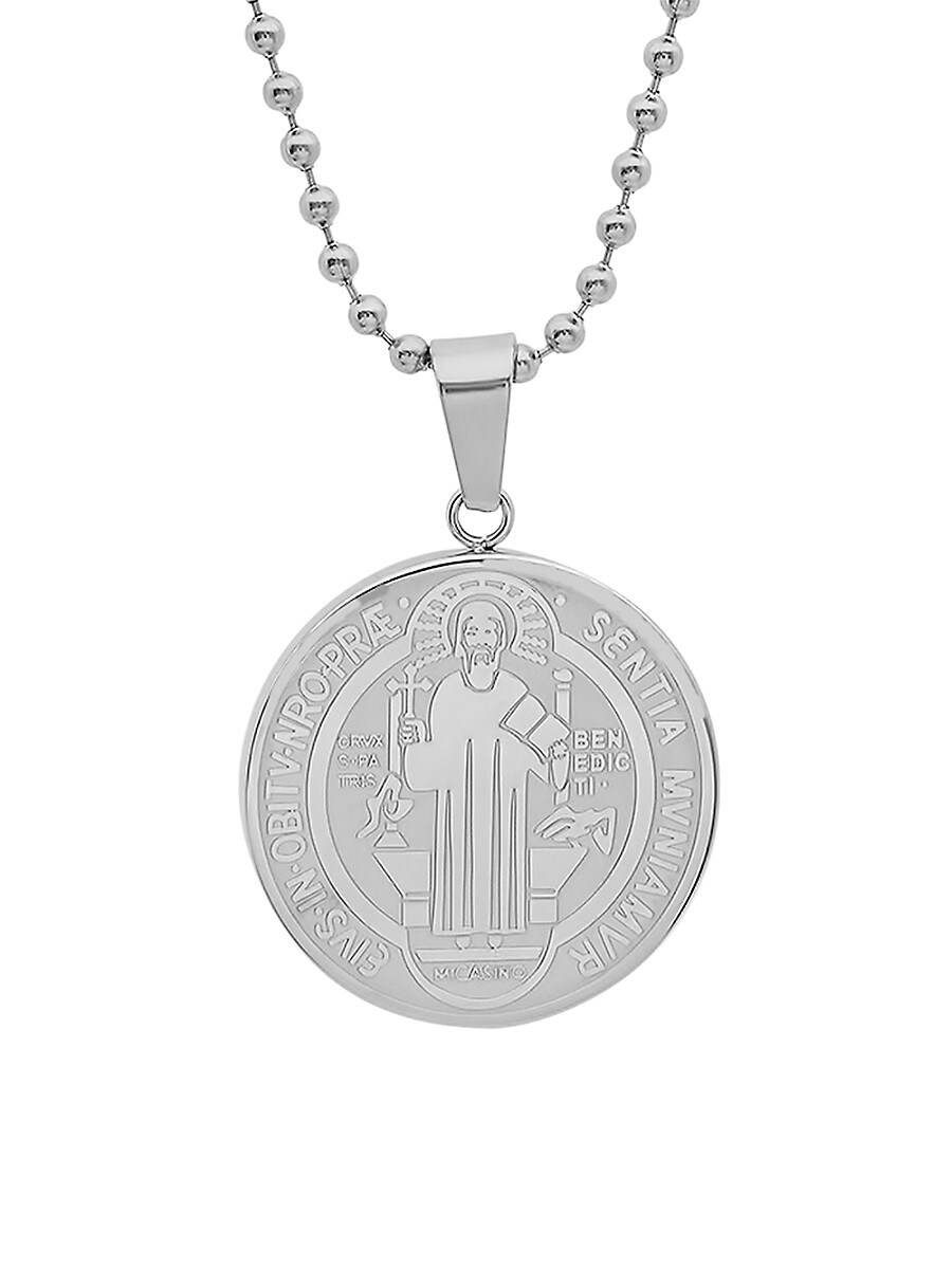 Men's Stainless Steel Religious Coin Pendant Necklace