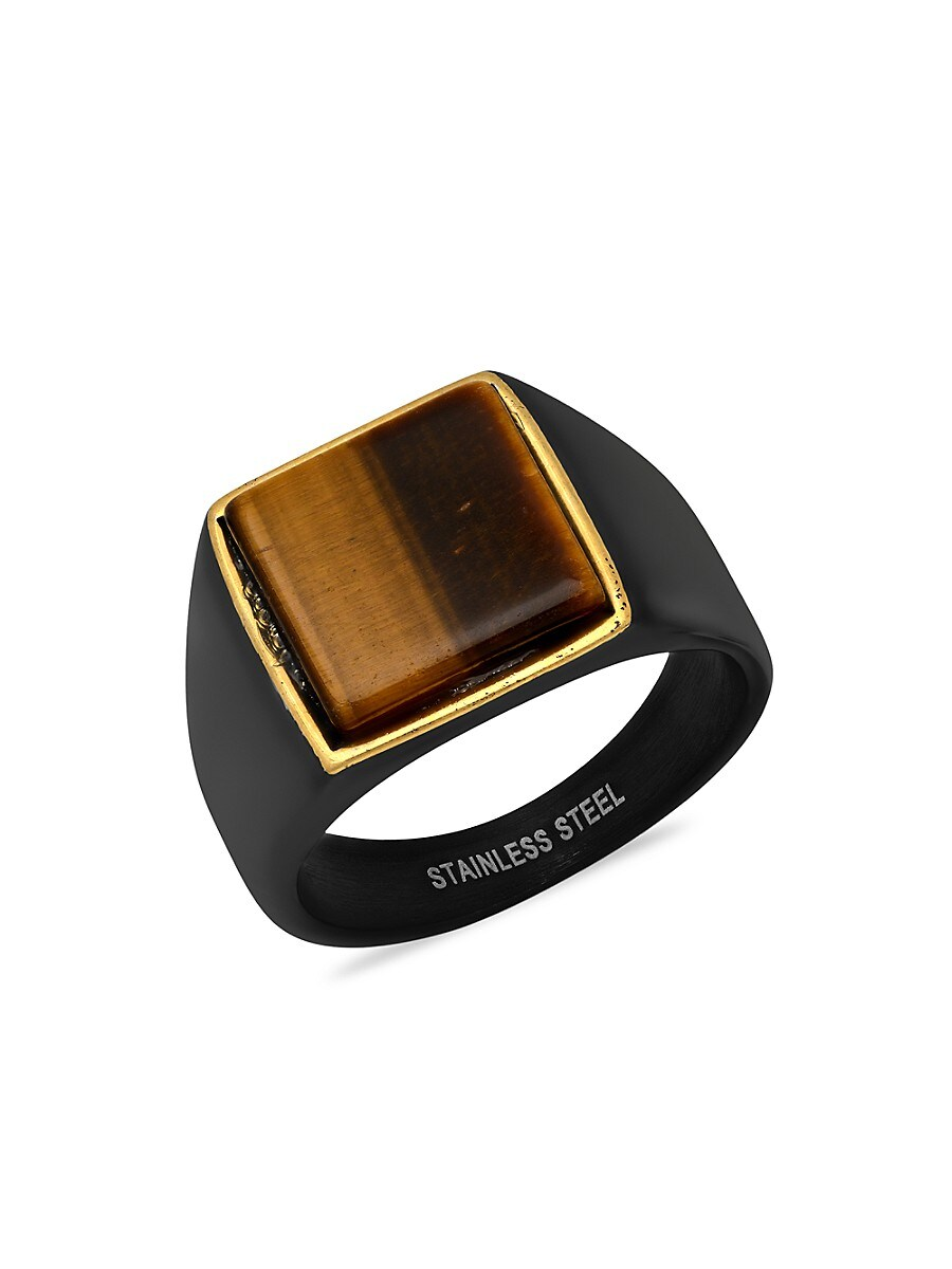 Men's Two-Tone 18K Goldplated & Stainless Steel Square Ring