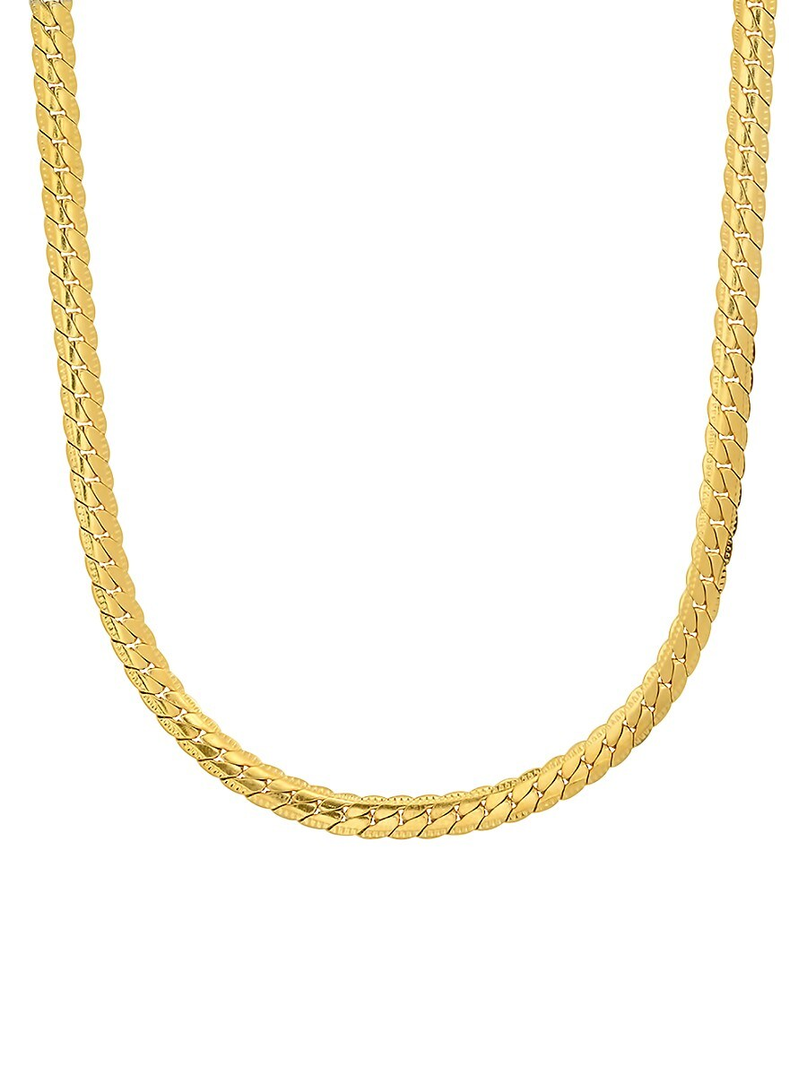 Men's 18K Goldplated Stainless Steel Curb Cuban Link Flat Necklace