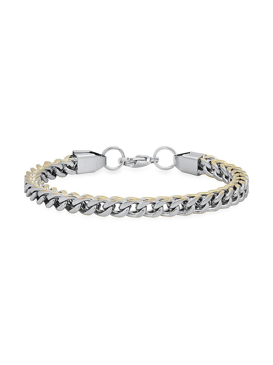 "Men's Two-Tone 18K Goldplated & Stainless Steel Wheat Link Bracelet/8.5"""
