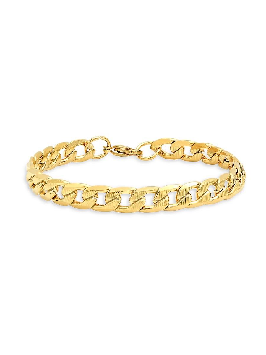 Men's 18K Goldplated Stainless Steel Curb Cuban Link Flat Bracelet
