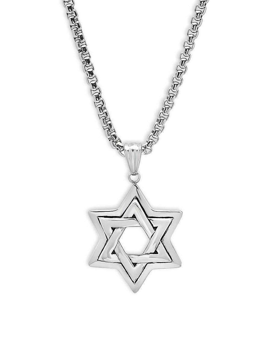 Men's Stainless Steel Star Of David Pendant Necklace