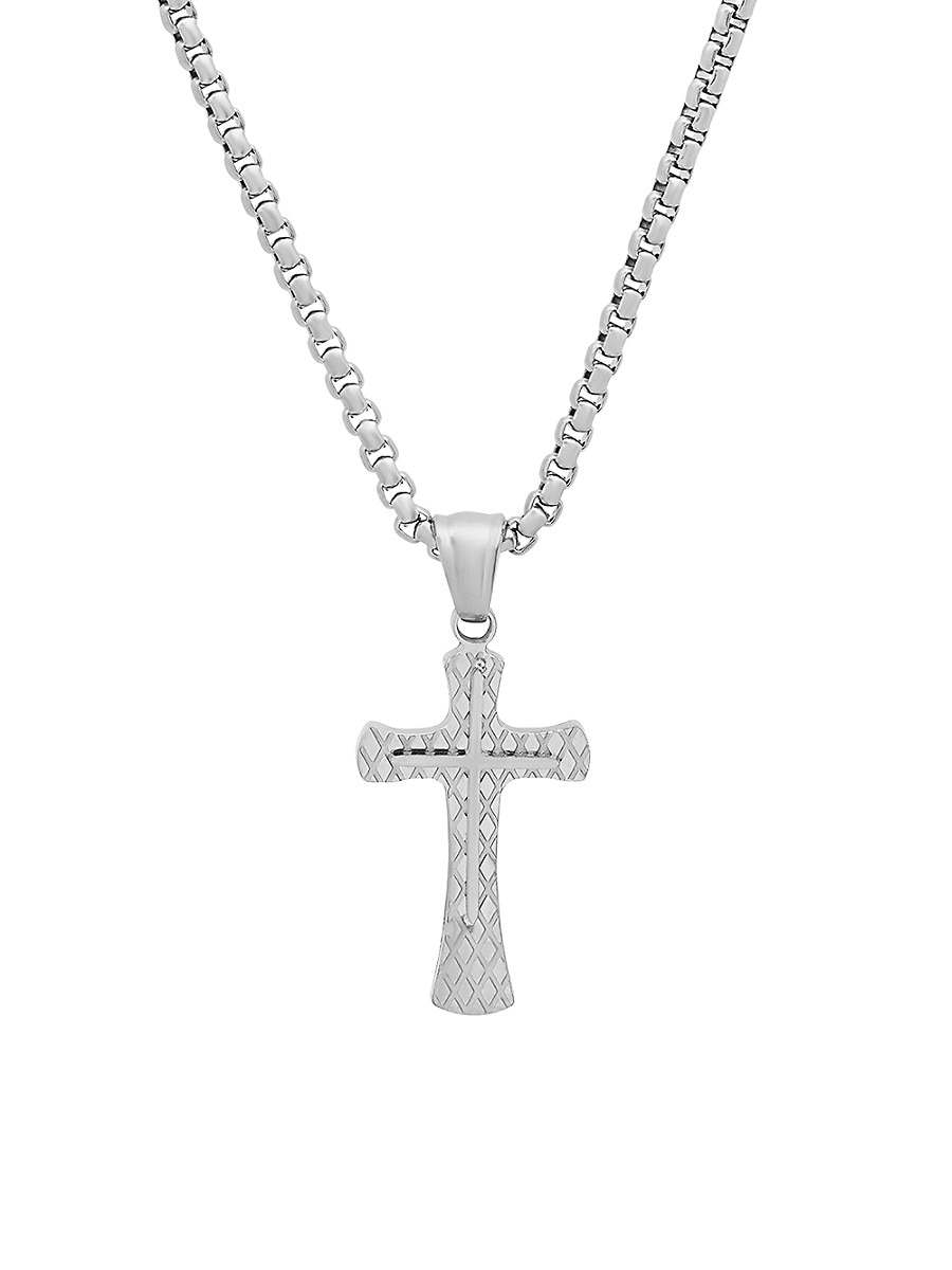 Men's Stainless Steel Diamond-Cut Double Cross Pendant Necklace