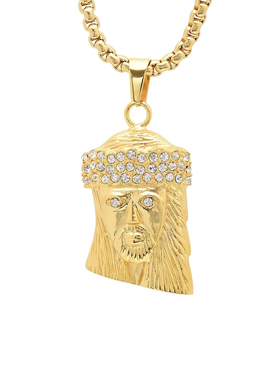 Men's 18K Goldplated Necklace with Simulated Diamond Jesus Face Pendant