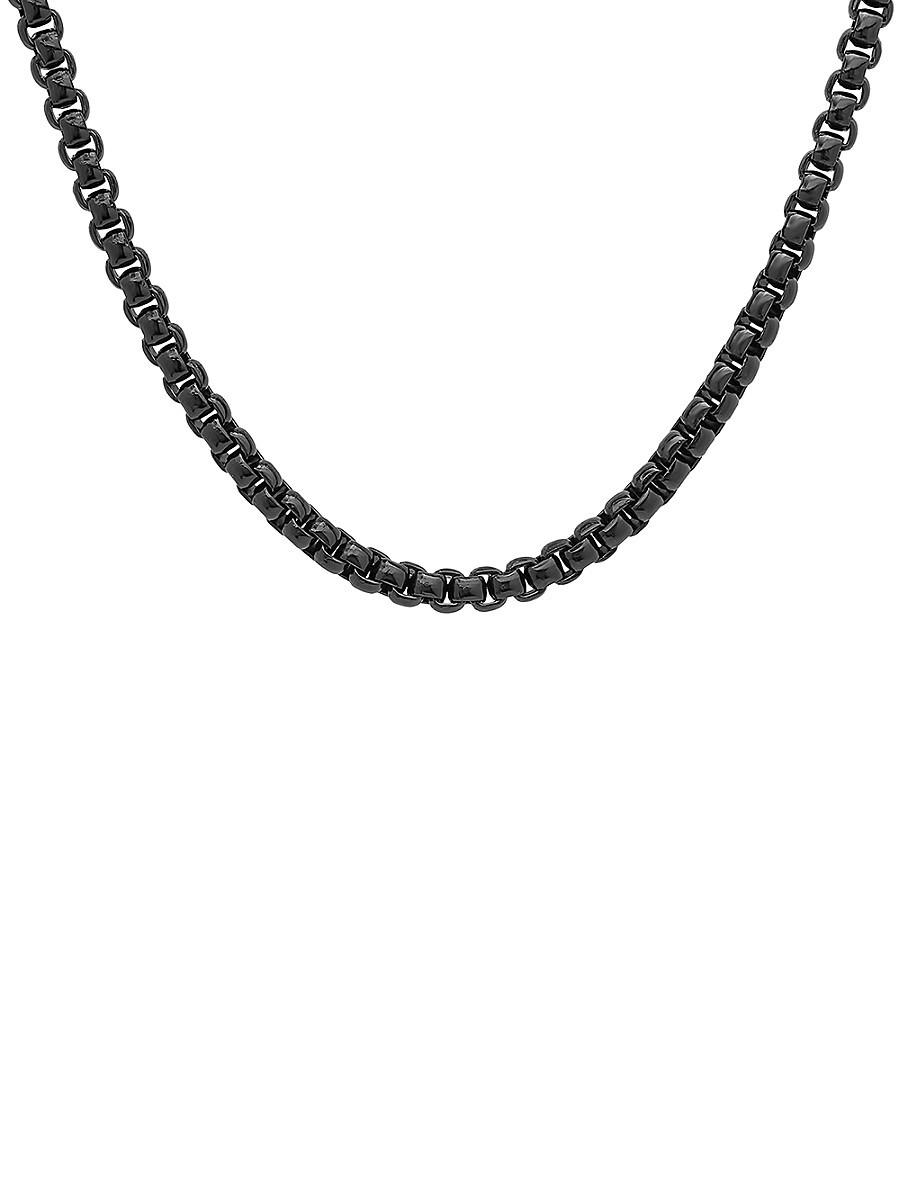 "Men's Black IP Stainless Steel Round Box Chain Necklace/24"""