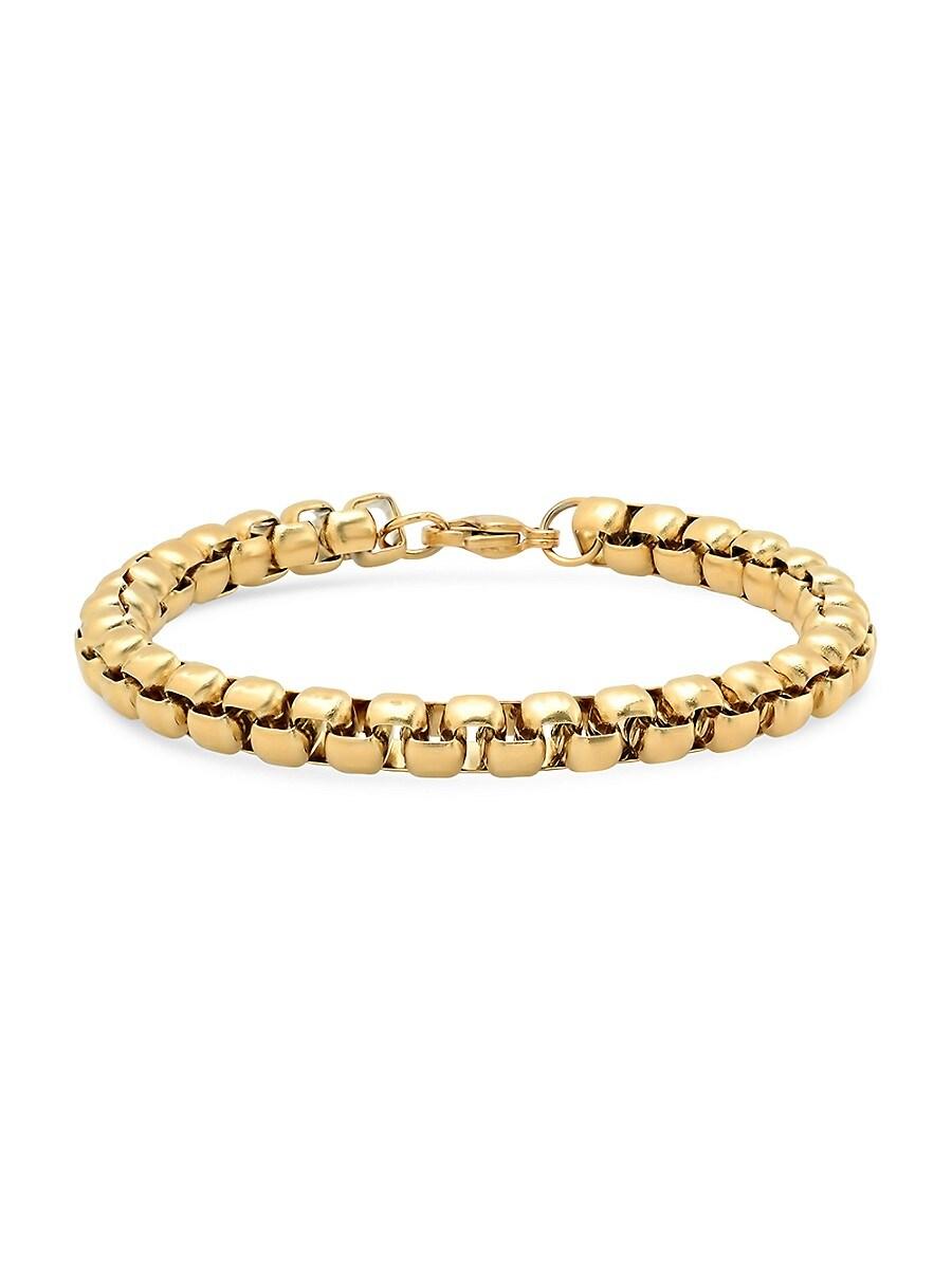"Men's 18K Goldplated Stainless Steel Round Box-Link Bracelet/8.5"""