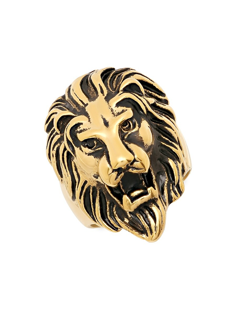 Men's 18K Goldplated Stainless Steel Lion Head Ring