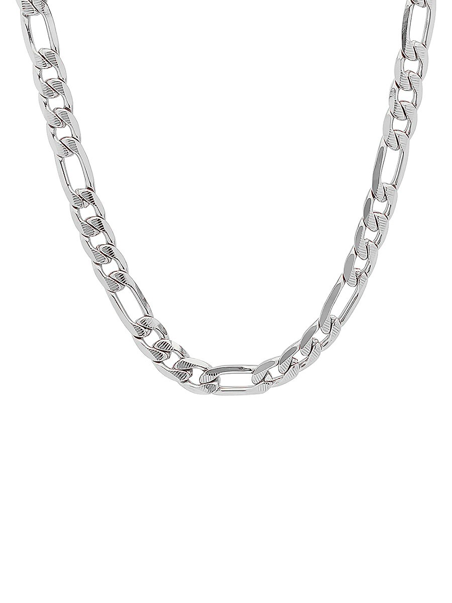 """Men's Stainless Steel Diamond Cut Figaro Chain Link Necklace/24"""""""