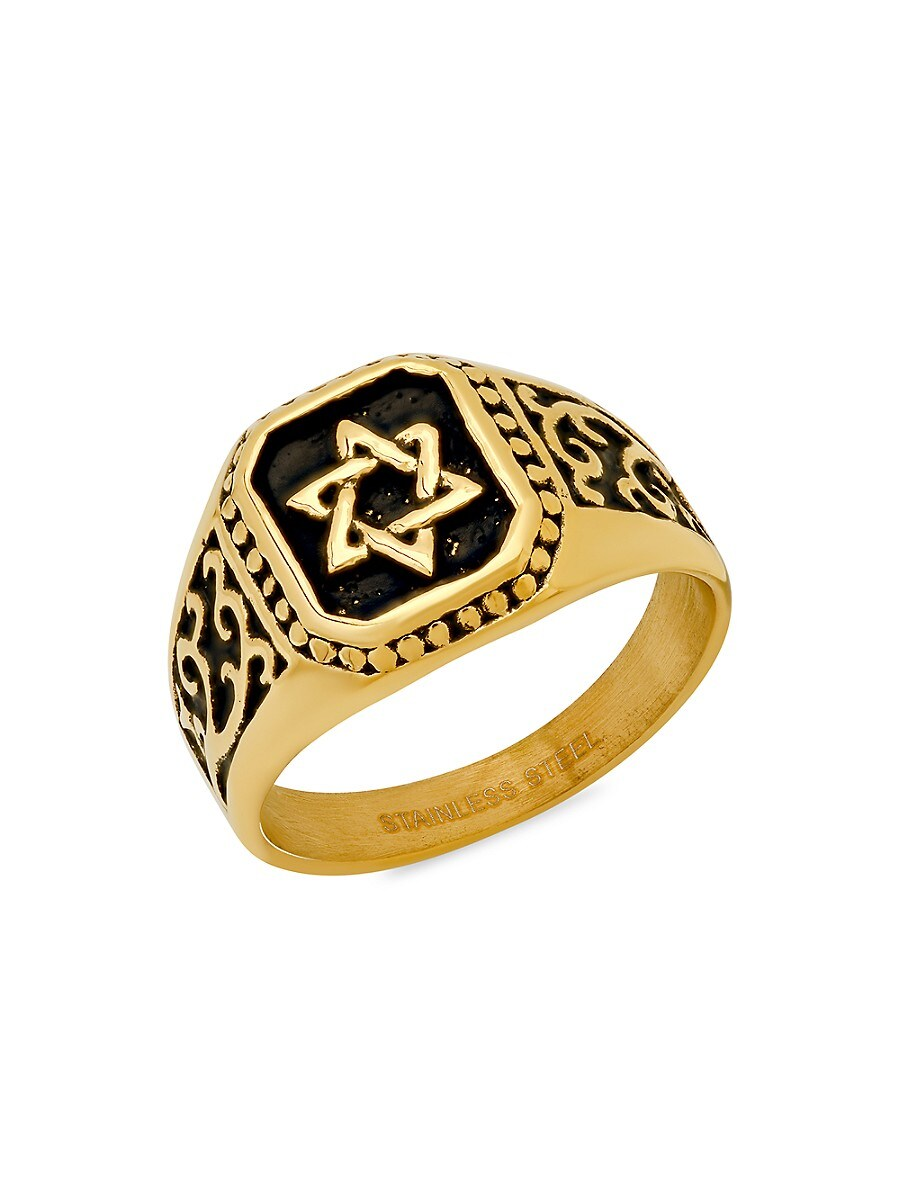 Men's 18K Two-Tone Goldplated Star of David Square Ring