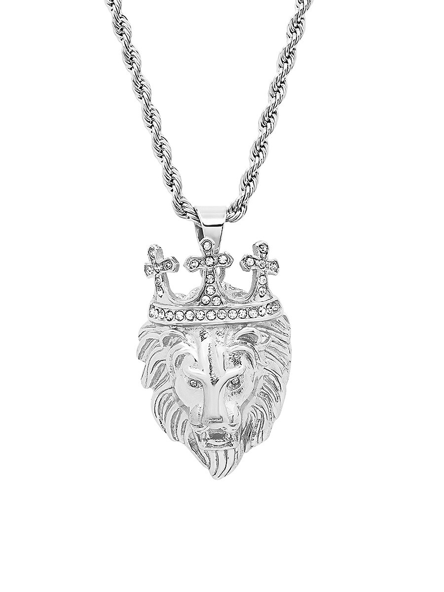 Men's Stainless Steel & Simulated Diamond King Lion Pendant Necklace